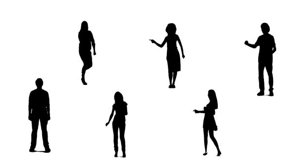 Silhouettes of young people who dance