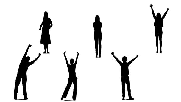 Silhouettes of young people who raise arms up