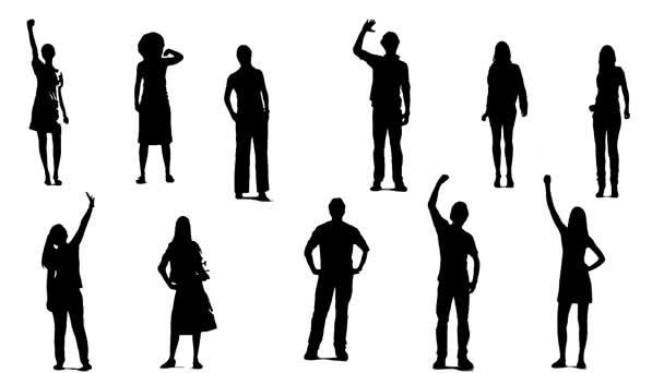 Silhouettes of young people who raise one arm up