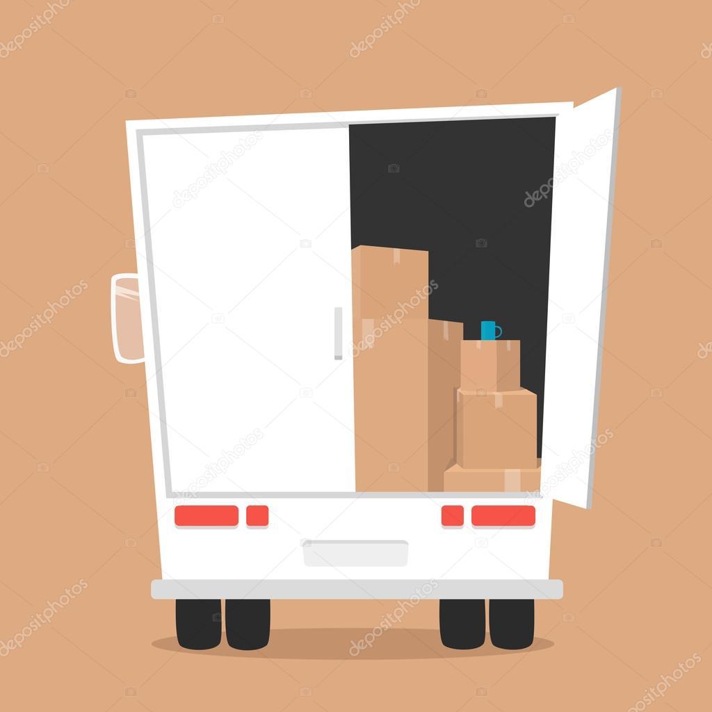Movimiento con las cajas. Empresa de transporte — Vector de stock ...