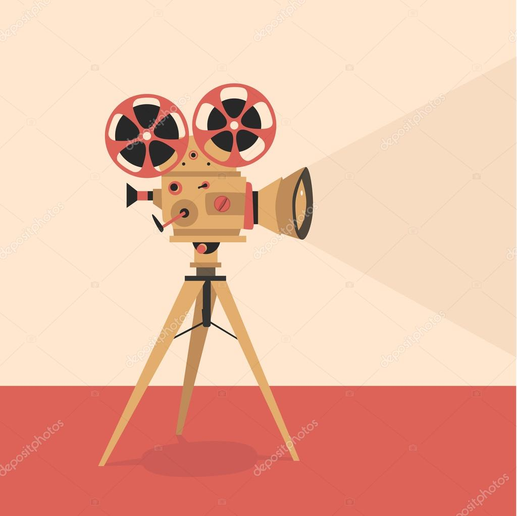 Retro movie projector poster. Cartoon vector illustration. Cinema motion picture
