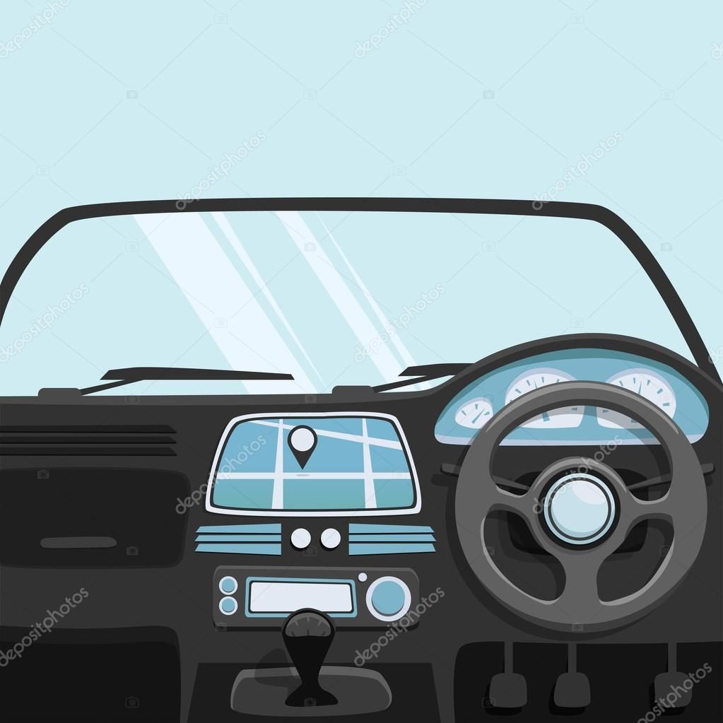 vehicle interior inside car vector cartoon illustration stock vector dmitrymoi 111324306. Black Bedroom Furniture Sets. Home Design Ideas