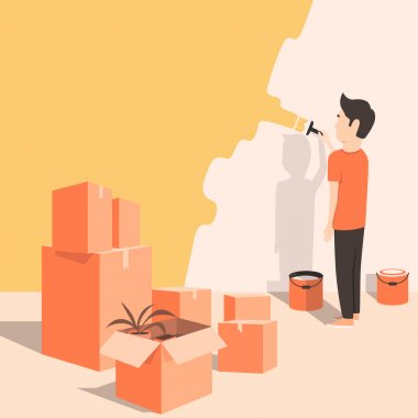 Man paints the wall at home. Cartoon style. Vector illustration