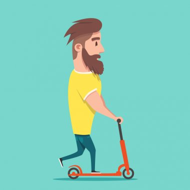Hipster racing a scooter. Young modern man loves adventure.