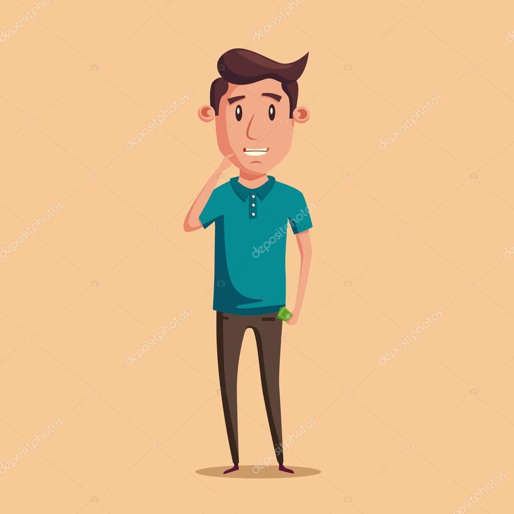 Ilustracion Persona Pensando Hombre Pensando En Opción Dinero