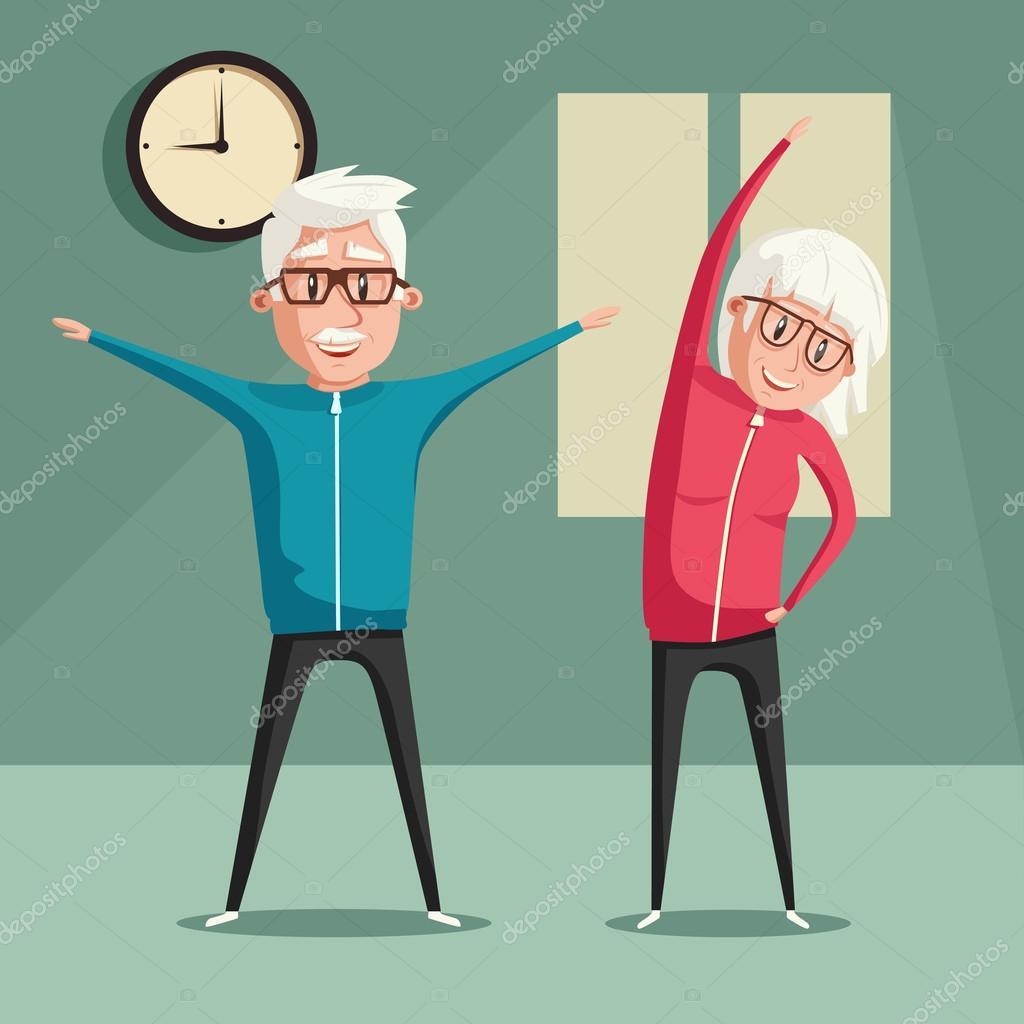 Best Senior Exercise Illustrations, Royalty-Free Vector