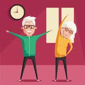 Senioren und Turnen. Zeichentrickvektorillustration