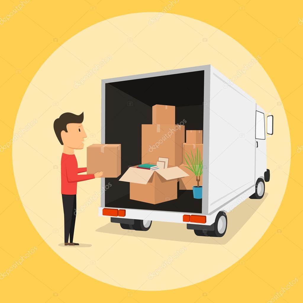 Movimiento con las cajas. Cosas en la caja. Empresa de transporte ...