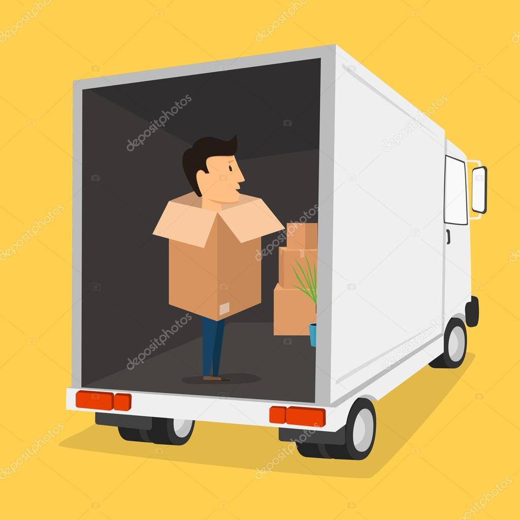 Boxman. Movimiento con las cajas. Cosas en la caja. Empresa de ...