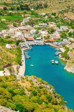 View on Vathi village and sea bay, Greece