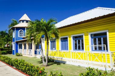 Wooden colored houses in the Caribbean Islands
