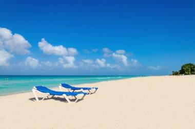 Blue sunbeds on sandy Caribbean beach