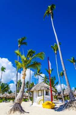 Exotic beach with hut and canoe on Caribbean