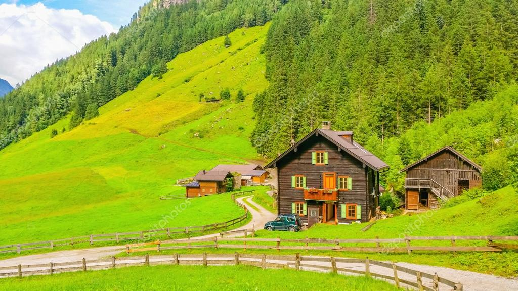 Typical alpine buildingm green meadows in Austria
