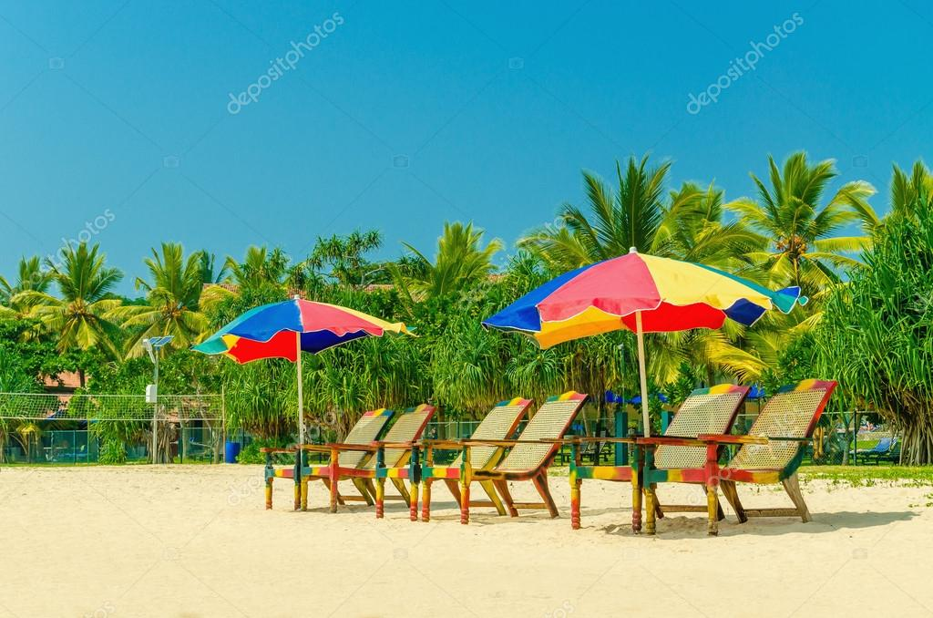 Colorful umbrellas and deck chairs, Sri Lanka