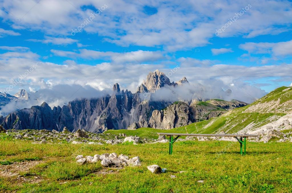 Campers and parking lot in Dolomites