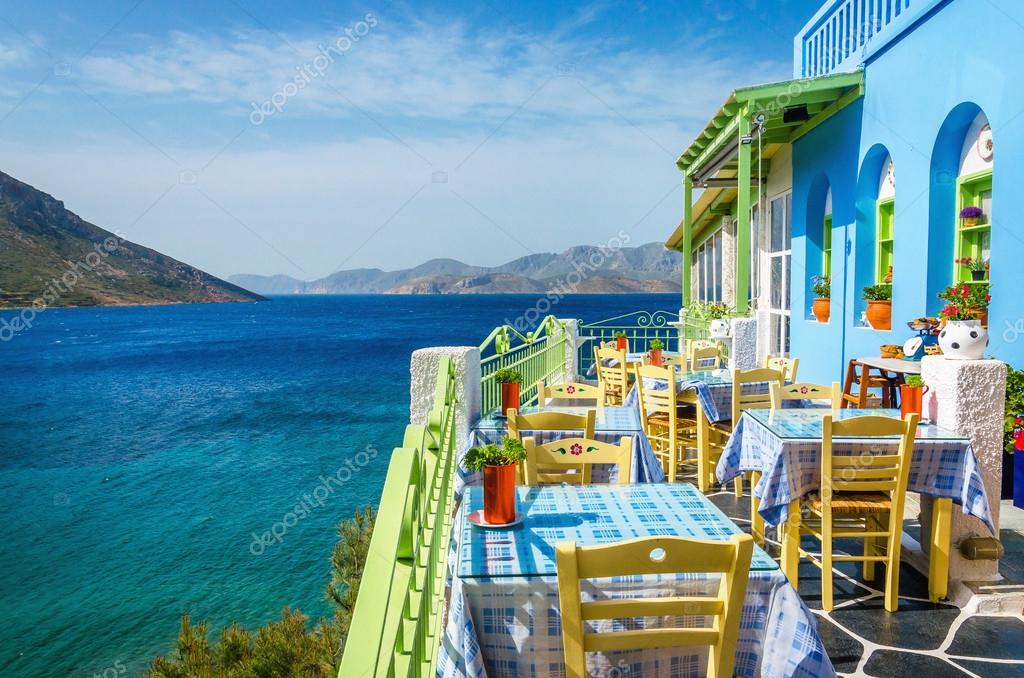 Typical Greek restaurant on the balcony