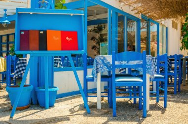 Typical Greek restaurant - blue and white, Greece