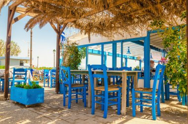 Blue wooden tables and chairs, Kos, Greece