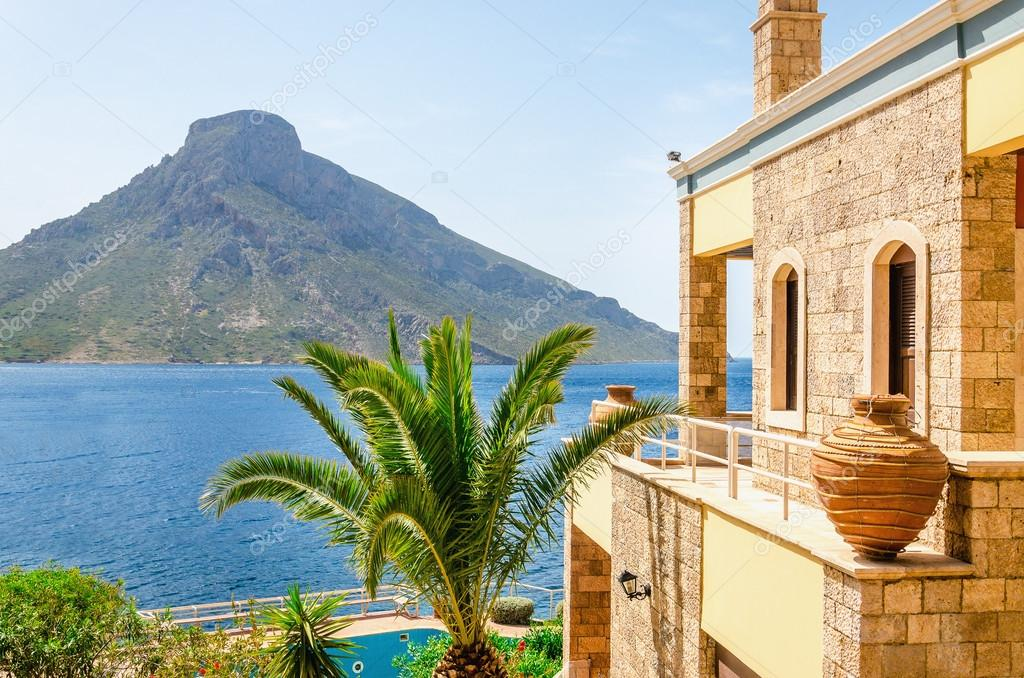 Remote Greek Island from typical residence, Greece