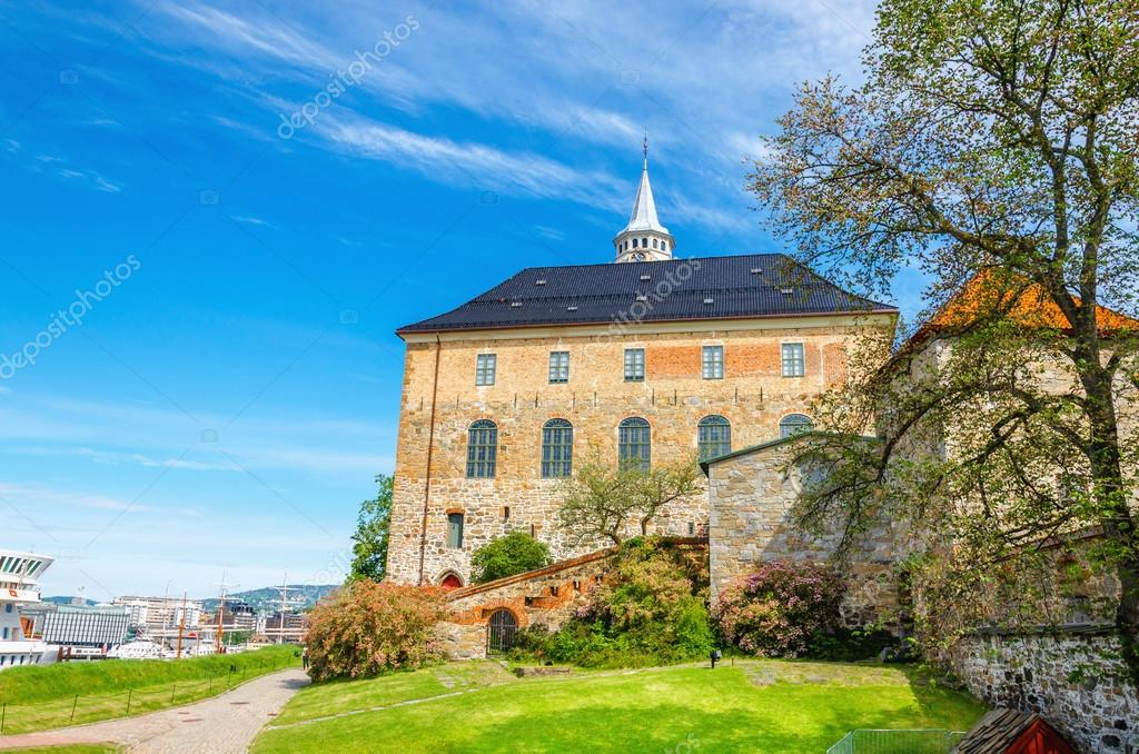 Medieval castle Akershus Fortress with Oslofjord