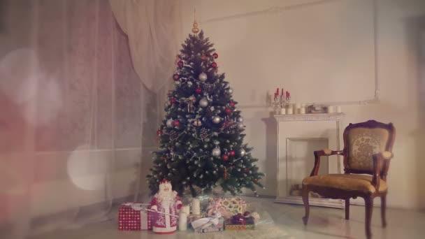 Christmas living room.Falling snow.