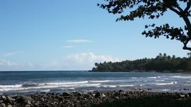 Sziklás vulkáni beach strand és a hullámok.