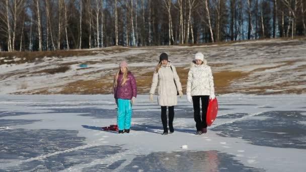 Familie spaziert auf dem zugefrorenen See