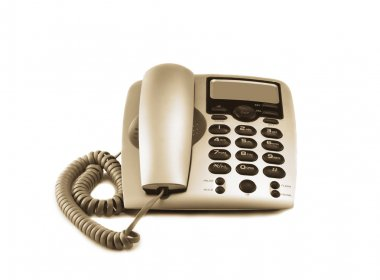 Photo Of Close-up Gray Telephone Isolated On White stock vector