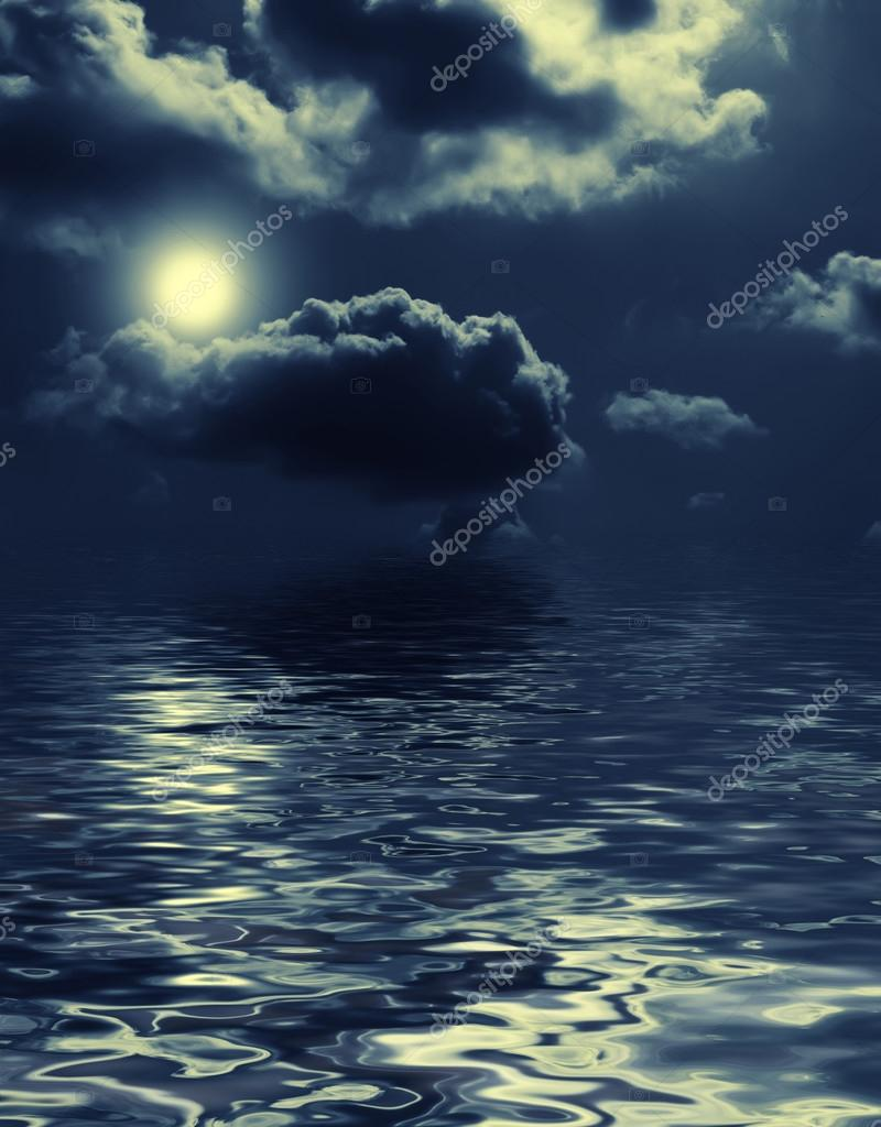 nightly clouds over the water