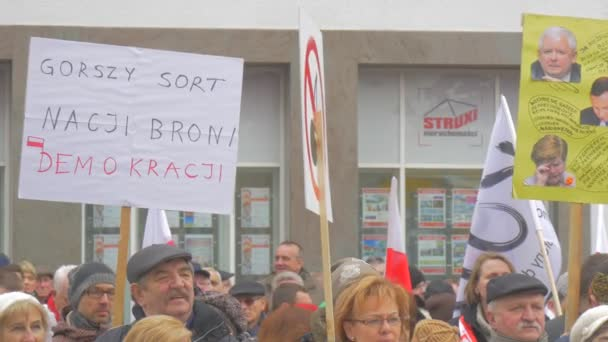 People With Placards Democracy Committees Rally Against President Andrew Duda Actions Opole Poland People Activists Holding Banners Inscriptions in Polish