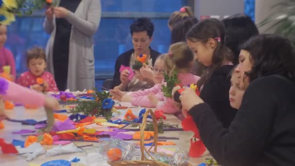 Women kids are making paper flowers family master class opole poland women kids are making paper flowers family master class opole poland preparation to the celebration colored mightylinksfo