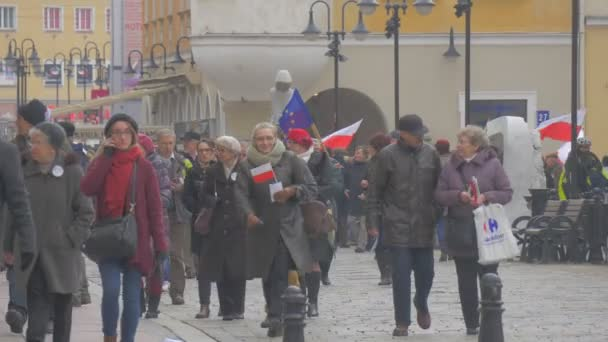 People With Flags Democratic Meeting Opole Poland Protest Against the Presidents Policies Men and Women at Vintage Square Are Waving Polish Flags Walking