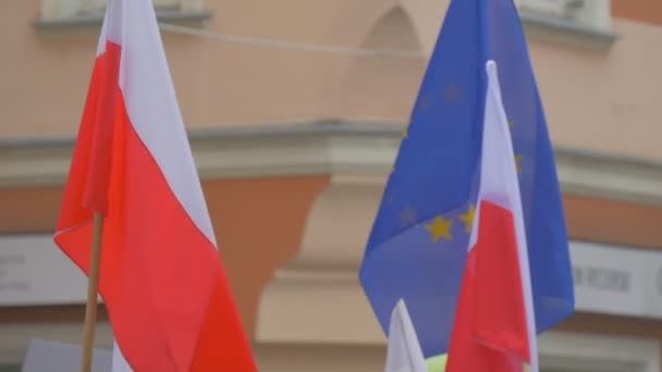 Activists Are Waving Polish Flag Blue eu Flag Democracy Committees Rally Against President Andrew Duda Actions Opole Poland Red and White Flags Outdoors