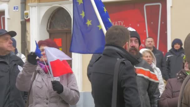 Two Men With Flag Talking Democratic Meeting Opole Poland Protest Against the Presidents Policies Women is Holding Polish and eu Flags Together at Square