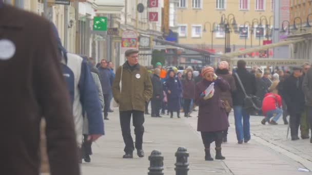 People With Rolled Flags Democratic Meeting Opole Poland Protest Against the Presidents Policies Men and Women Are Waving Polish Flags Walking Away