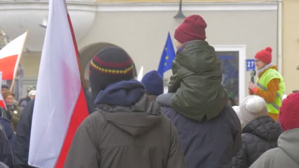 Democratic Meeting Opole Poland Protest Against the Presidents Policies Woman Talking Into Microphone Men and Women Are Waving Polish and eu Flags