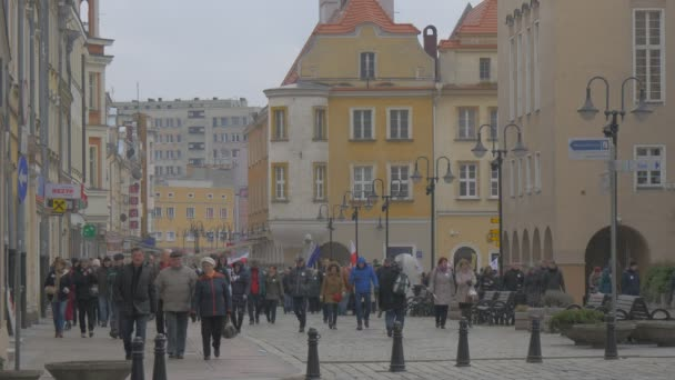 People Walking Away Democratic Meeting Opole Poland Protest Against the Presidents Policies Men and Women at Vintage Square Waving Polish Flags Walking