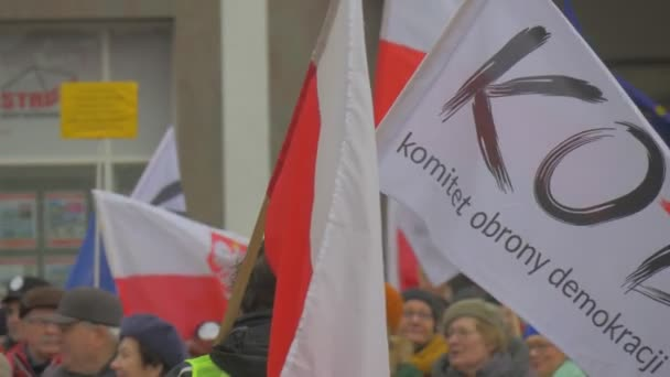 Peoples Faces Democracy Committees Rally Opole Poland Meeting Against President Andrew Duda Actions Activists Are Holding Banners Waving a Polish Flags