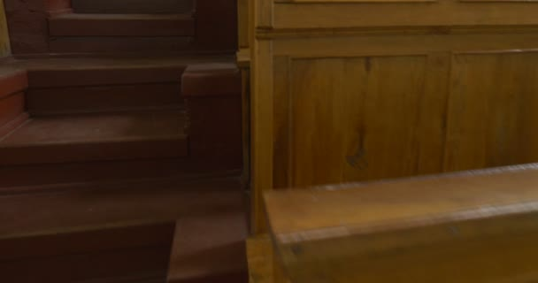 Classrom, Auditorium, Lecture Hall at The University, Wooden Desks, Stairs to the Rows Closeup, Zoom In