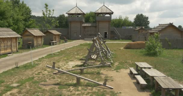 Children Playground, Swings, Teeterboard in the Park, Museum at Open Air, Ancient City Reconstruction