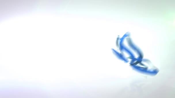 blaues Band, Klebeband wird zu einem Schmetterling vor blauem Himmel mit weißen Wolken, Klebeband wird weiß, schwarzer Hintergrund, Computergrafik