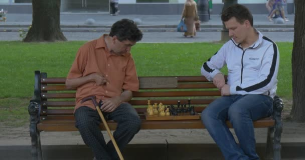 Two Men Are Sitting in Front of Each Other on The Bench, Playing Chess, Man with Walking Stick, Meadow is Behind the Bench, Street, Walking People