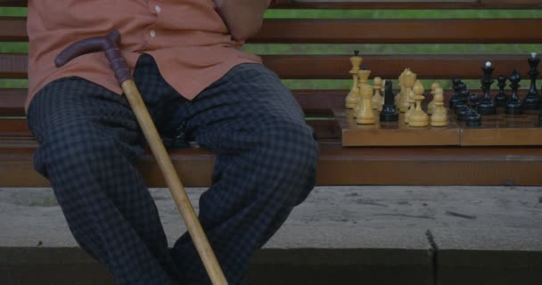 Chess Players, Man With Walking Stick, Hand of The Opponent, Chess Board Closeup, Two Men Are Sitting in Front of Each Other on The Bench