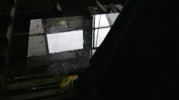 Wet Glass Sheet, Worker Put The Glass Sheet Into Machine, Worker in Yellow Gloves, Water Jets