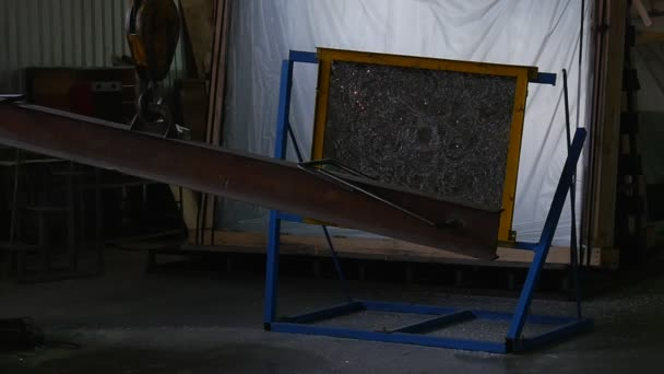 Glass Sheet in Metal Frame, Stand, Crackled Glass, Glass Sheet After Test with Battering Ram,Swaying Battering Ram Hanging on the Rope