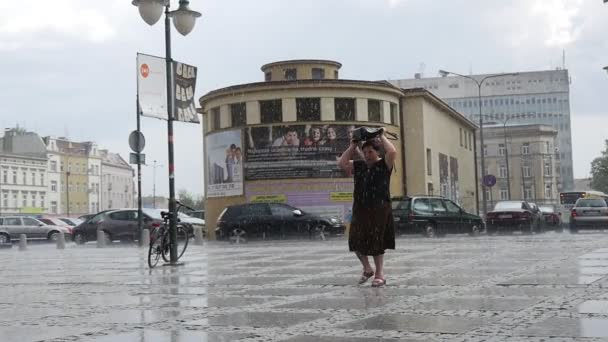 Woman Walks On The Wet Sidewalk Tiles In The Rain Passenger Cars Buildings Lamp Posts Traffic Signs In The Background Cloudy Downpour Slow Motion