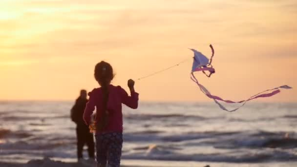 Girl Silhouette is Running Away With Kite People Families Are Walking Beach Sunset People are Flying the Kites International Kite Festival Leba Poland