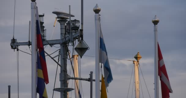 Flags Waving In The Wind White Masts Yach Club Port Harbor Cloudy Summer Day Sunset Leba Poland