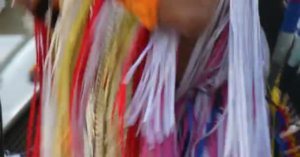 Costume Close Up Indian Playing Flute Dancing Indians Performers in National Costumes Feathers Ribbons Necklaces are Singing Playing National Music